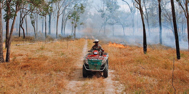 A ranger driving a buggy through a smoky forest that is burning behind him