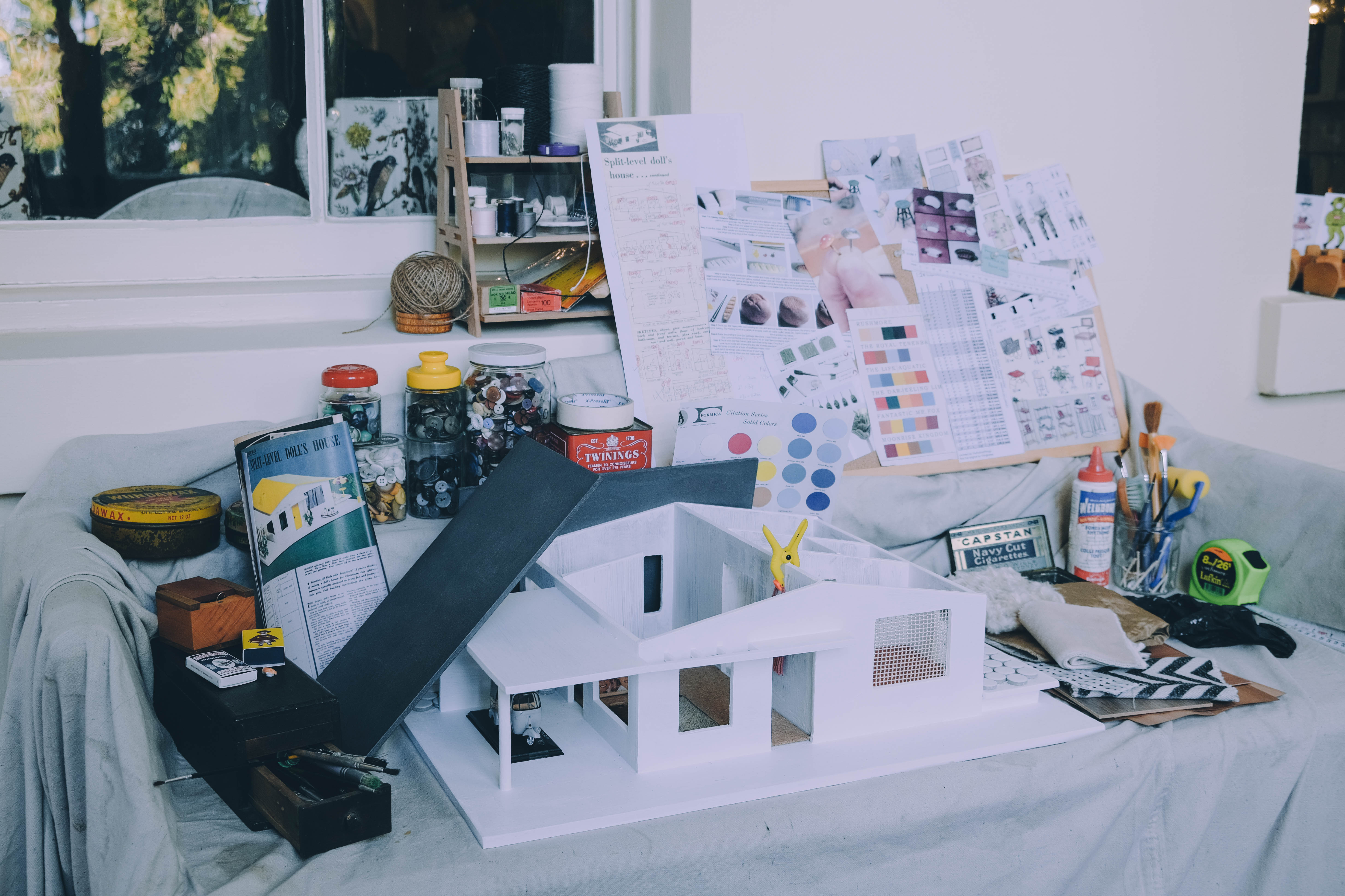 Doll house in construction on work bench
