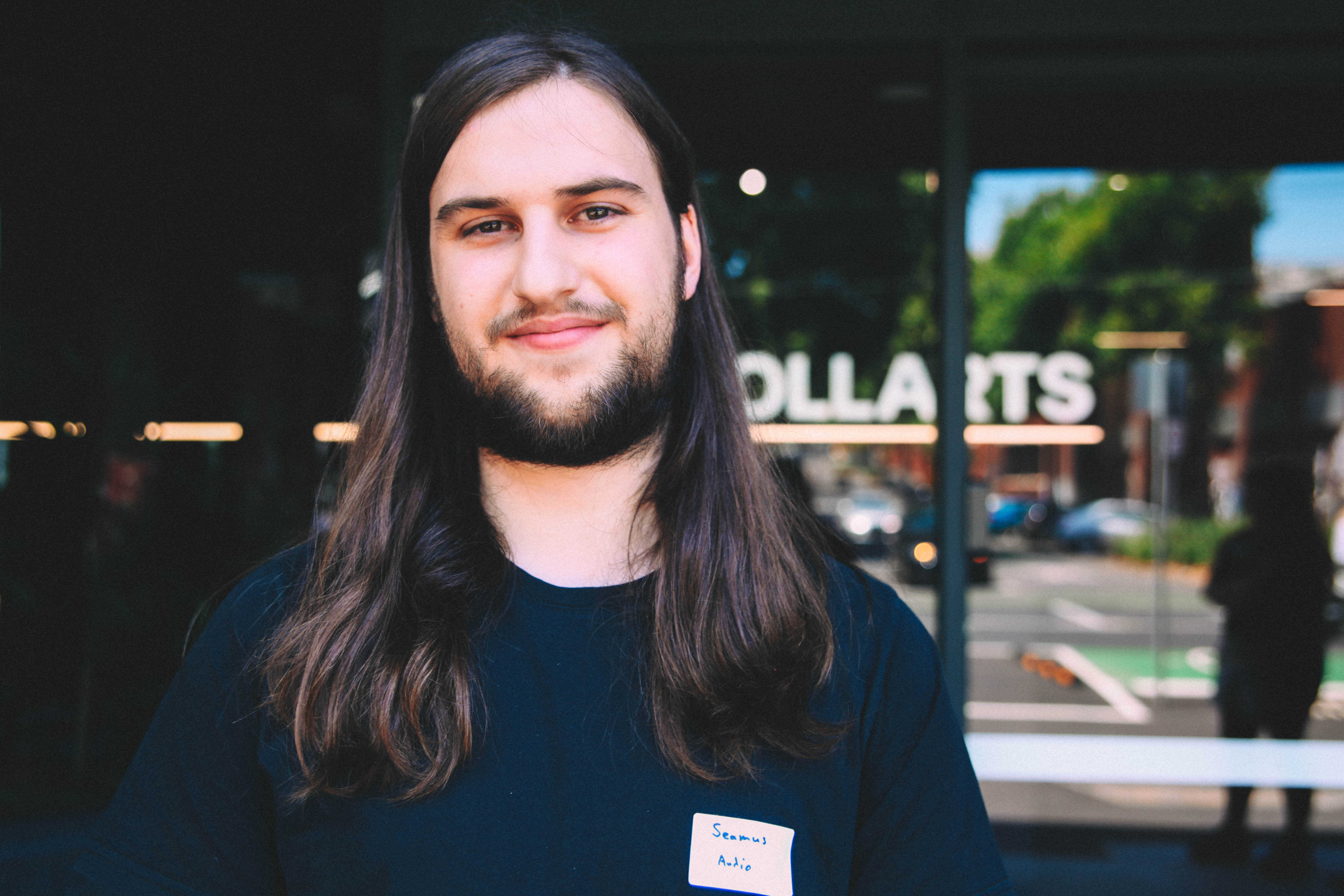 Seamus - student with long hair and beard